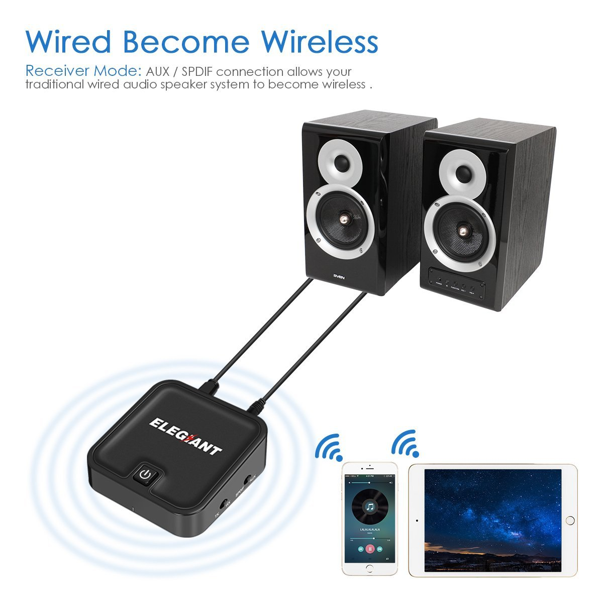 ELEGIANT apt-X Low Latency 2-in-1 Bluetooth Audio Transmitter Receiver