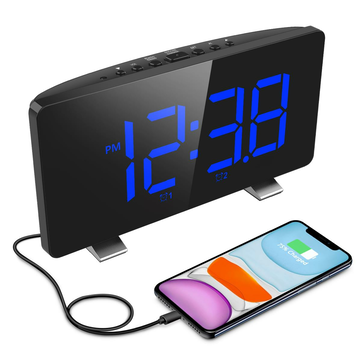 ELEGIANT FM Digital Alarm Clock 6.7'' LED Screen with Dual Alarms Adjustable Snooze Time Support 12/24H 4 Brightness Auto-Dimmer | EOX-6607