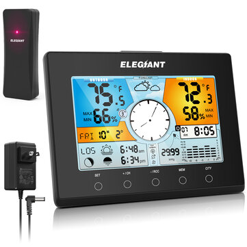 ELEGIANT Color Weather Station Auto Time Setting (WWVB) Indoor Outdoor Thermometer Hygrometer Monitor Weather Forecast 4-Level Backlight | EOX-9938 US