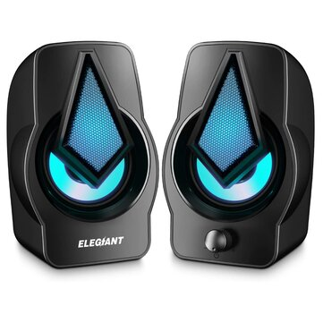 ELEGIANT Computer Speakers, 2.0 USB Powered PC Speakers Stereo Volume Control with LED Light Mini Portable Gaming Speakers 3.5mm